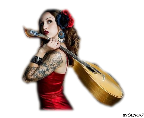 tube femme guitare