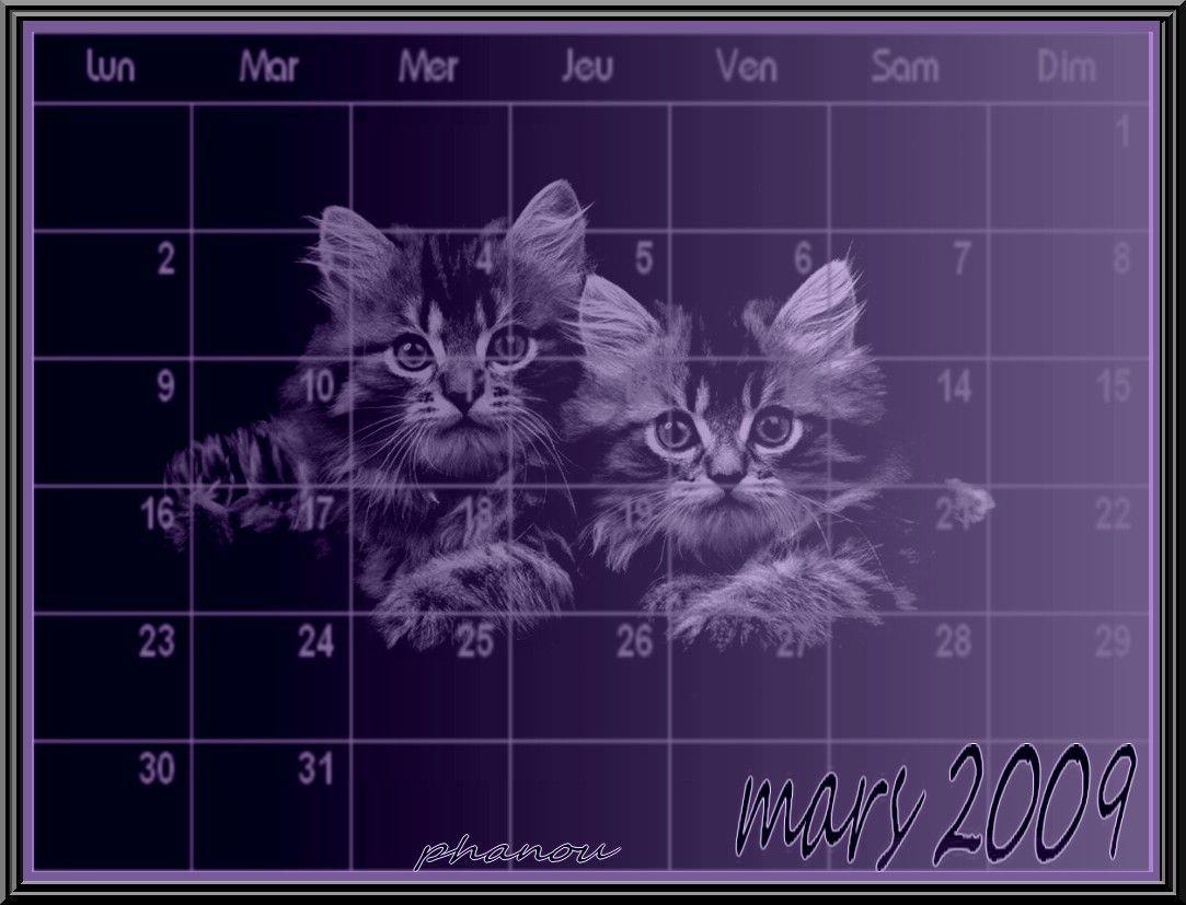 crea calendrier mars 2009