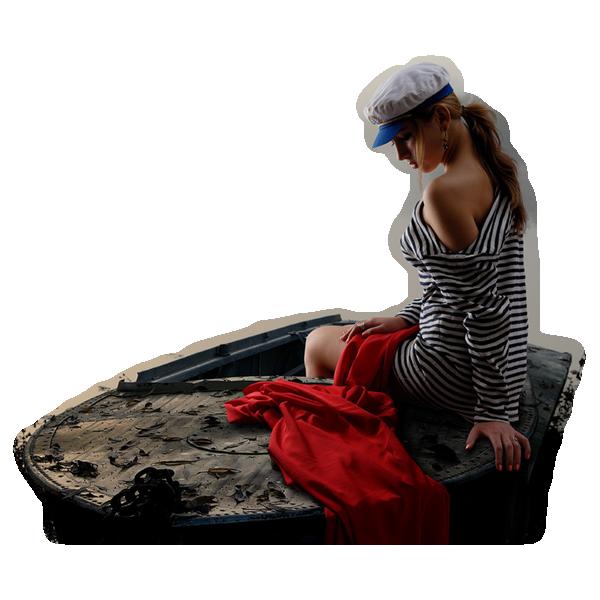 tube femme bateau